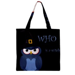 Halloween Witch   Blue Owl Zipper Grocery Tote Bag