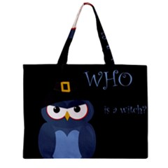 Halloween Witch   Blue Owl Zipper Mini Tote Bag by Valentinaart