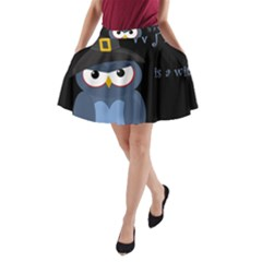 Halloween Witch   Blue Owl A Line Pocket Skirt by Valentinaart