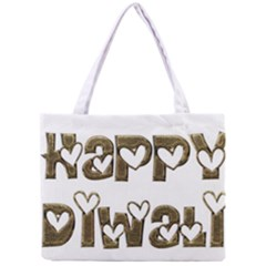 Happy Diwali Greeting Cute Hearts Typography Festival Of Lights Celebration Mini Tote Bag by yoursparklingshop