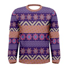 Colorful Winter Pattern Men s Long Sleeve Tee by DanaeStudio