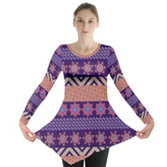 Colorful Winter Pattern Long Sleeve Tunic