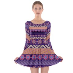 Colorful Winter Pattern Long Sleeve Skater Dress by DanaeStudio