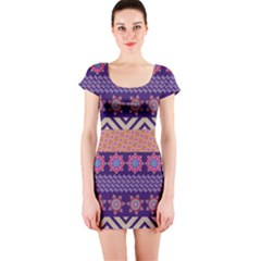 Colorful Winter Pattern Short Sleeve Bodycon Dress
