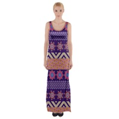 Colorful Winter Pattern Maxi Thigh Split Dress