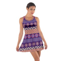 Colorful Winter Pattern Cotton Racerback Dress