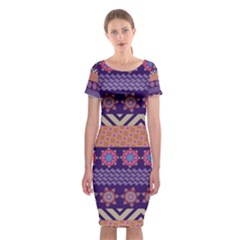 Colorful Winter Pattern Classic Short Sleeve Midi Dress by DanaeStudio