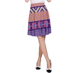 Colorful Winter Pattern A-Line Skirt