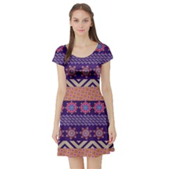 Colorful Winter Pattern Short Sleeve Skater Dress by DanaeStudio