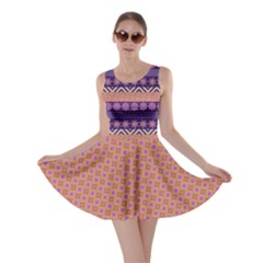 Colorful Winter Pattern Skater Dress