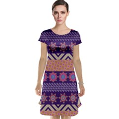 Colorful Winter Pattern Cap Sleeve Nightdress