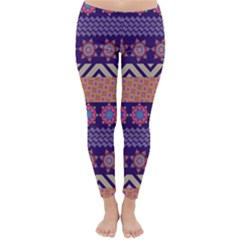 Colorful Winter Pattern Winter Leggings  by DanaeStudio
