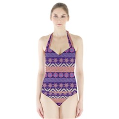 Colorful Tribal Pattern Halter Swimsuit