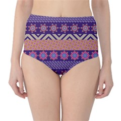 Colorful Tribal Pattern High Waist Bikini Bottoms by DanaeStudio