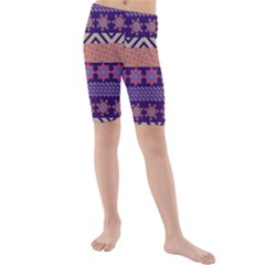 Colorful Tribal Pattern Kids  Mid Length Swim Shorts