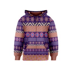 Colorful Winter Pattern Kids  Zipper Hoodie by DanaeStudio