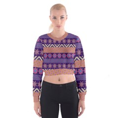 Colorful Winter Pattern Women s Cropped Sweatshirt by DanaeStudio