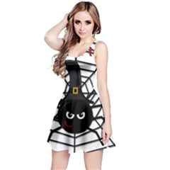 Halloween Cute Spider Reversible Sleeveless Dress by Valentinaart