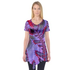 Freaky Friday Red  Lilac Short Sleeve Tunic  by Fractalworld