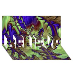 Freaky Friday, Blue Green Believe 3d Greeting Card (8x4) by Fractalworld