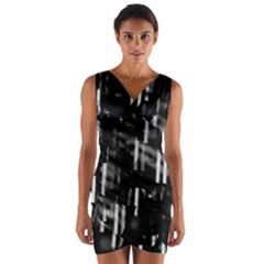 Black And White Neon City Wrap Front Bodycon Dress