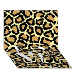 Pink Leopard Love Bottom 3d Greeting Card (7x5)
