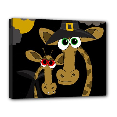 Giraffe Halloween Party Canvas 14  X 11  by Valentinaart