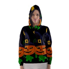 Halloween Witch Pumpkin Hooded Wind Breaker (women) by Valentinaart