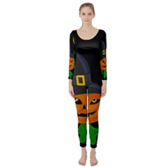 Halloween Witch Pumpkin Long Sleeve Catsuit by Valentinaart