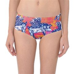 Little Flying Pigs Mid Waist Bikini Bottoms by DanaeStudio