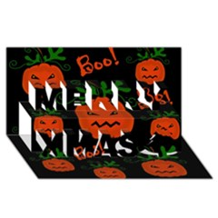Halloween Pumpkin Pattern Merry Xmas 3d Greeting Card (8x4) by Valentinaart