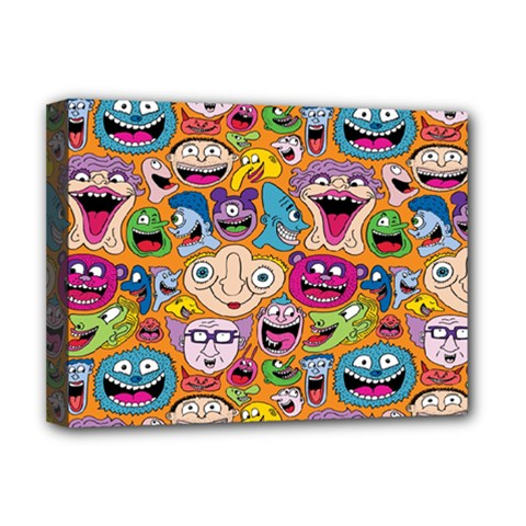 Smiley Pattern Deluxe Canvas 16  X 12
