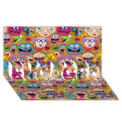 Smiley Pattern Engaged 3d Greeting Card (8x4)
