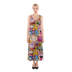 Smiley Pattern Sleeveless Maxi Dress