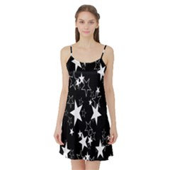Star Black White Satin Night Slip