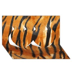 Tiger Twin Hearts 3d Greeting Card (8x4) by AnjaniArt