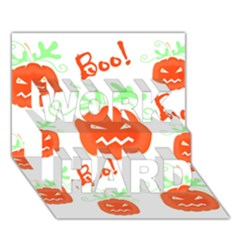 Halloween Pumpkins Pattern Work Hard 3d Greeting Card (7x5)
