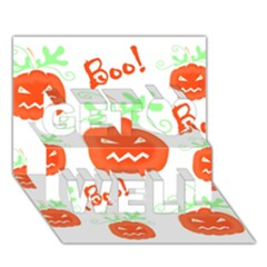 Halloween Pumpkins Pattern Get Well 3d Greeting Card (7x5)