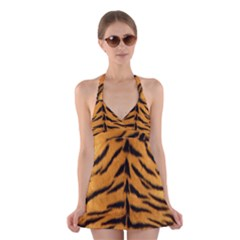 Tiger Skin Halter Swimsuit Dress