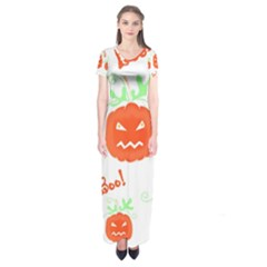 Halloween Pumpkins Pattern Short Sleeve Maxi Dress by Valentinaart