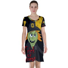 Halloween Witch Short Sleeve Nightdress by Valentinaart