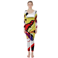 Abstract Art Long Sleeve Catsuit by Valentinaart