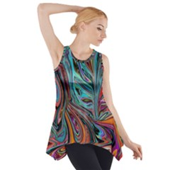 Brilliant Abstract In Blue, Orange, Purple, And Lime Green  Side Drop Tank Tunic
