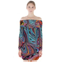 Brilliant Abstract In Blue, Orange, Purple, And Lime Green  Long Sleeve Off Shoulder Dress