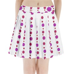 Vertical Stripes Floral Pattern Collage Pleated Mini Skirt