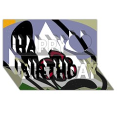 Black Flower Happy Birthday 3d Greeting Card (8x4) by Valentinaart