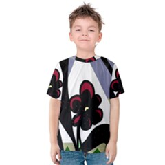Black Flower Kids  Cotton Tee by Valentinaart