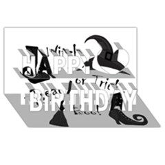 Halloween Witch Happy Birthday 3d Greeting Card (8x4) by Valentinaart