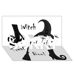 Halloween Witch Sorry 3d Greeting Card (8x4) by Valentinaart