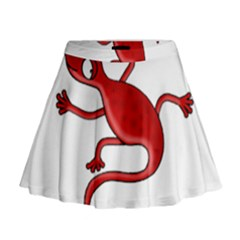 Red Lizard Mini Flare Skirt by Valentinaart